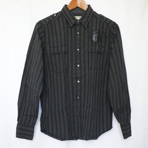 DKNY Men's Black Striped Button Long Sleeve Shirt